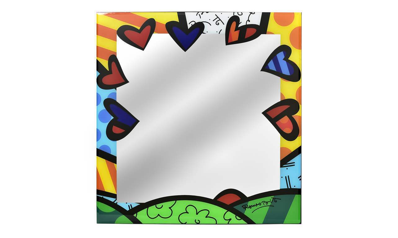 "Romero Britto Mirror Glass Wall Decor A New Day Design 24"" x 24"""