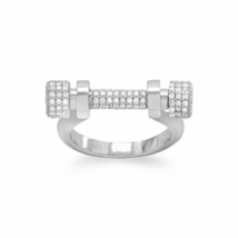 Unique Non-Tarnishing Rhodium Plated Sterling Silver Signity CZ Barbell ... - $97.88
