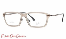 Ray Ban Eyeglasses RB7038 5457 Matte Lifht Brown Rectangle Frame 53mm Authentic - $77.59