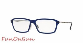 Ray Ban Eyeglasses RB7038 5451 Matte Blue Rectangle Frame 54mm Authentic Italy - $77.59