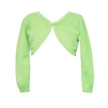 Rare Editions Big Girl Tween 7-16 Lime-green Bow Trim Knit Cardigan Sweater
