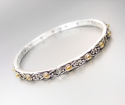 CLASSIC Brighton Bay Antique Silver Gold Dots Texture Thin 4mm Stretch Bracelet - $9.99