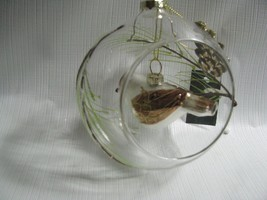 "Bird Cage Ornament Mercury Glass Bird Hanging in 5""Clear Glass Ball Chri... - $18.76"