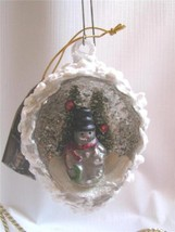 Mercury Glass Frosted Pine Cone Indent Christmas Ornament Diorama   Snowman - $14.80