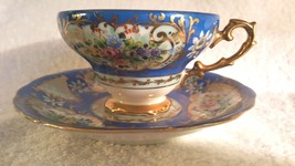Chuba China Cherry Exclusive Tea Cup Saucer Hand Painted Blue Floral Jap... - $16.95