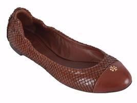 NEW Tory Burch York Brown Snake Print Cap Toe Logo Ballet Flats Shoes - $170.10