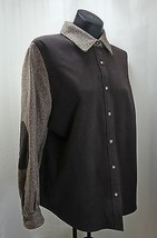 Talbots Brown Herringbone Elbow Patch Button-Front Lined Shirt Jacket - Size 14  - $16.10