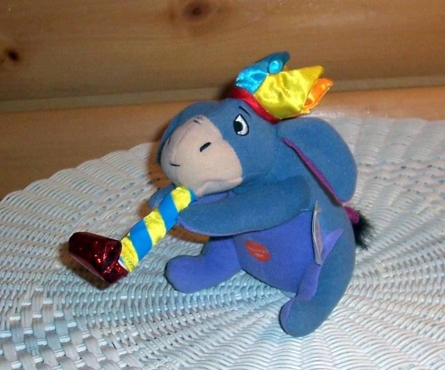 "Primary image for Winnie Pooh Sweet Eeyore Plush 6"" with Squeeze Belly Party Horn & Hat"