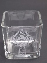 Glass candle votive, Celtic  shamrock cross  gift Can be customized  - $8.60