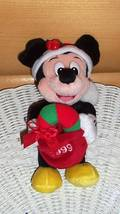 "Mickey Mouse Disney World Plush 8"" Holiday Ready in Red Fancy Cap w/ Candy Cane - $6.95"