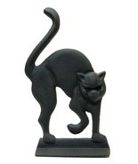 Set of 2 Cast Iron Black Cat Door Stop with Glass Eyes Statue Home Decor... - £36.60 GBP