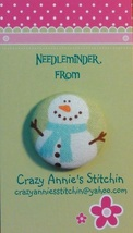 Snowman Blue Scarf Needleminder fabric cross stitch needle accessory - $7.00