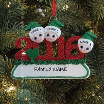 2016 Face Family Of 3 Personalized Christmas Tree Ornament - $11.83