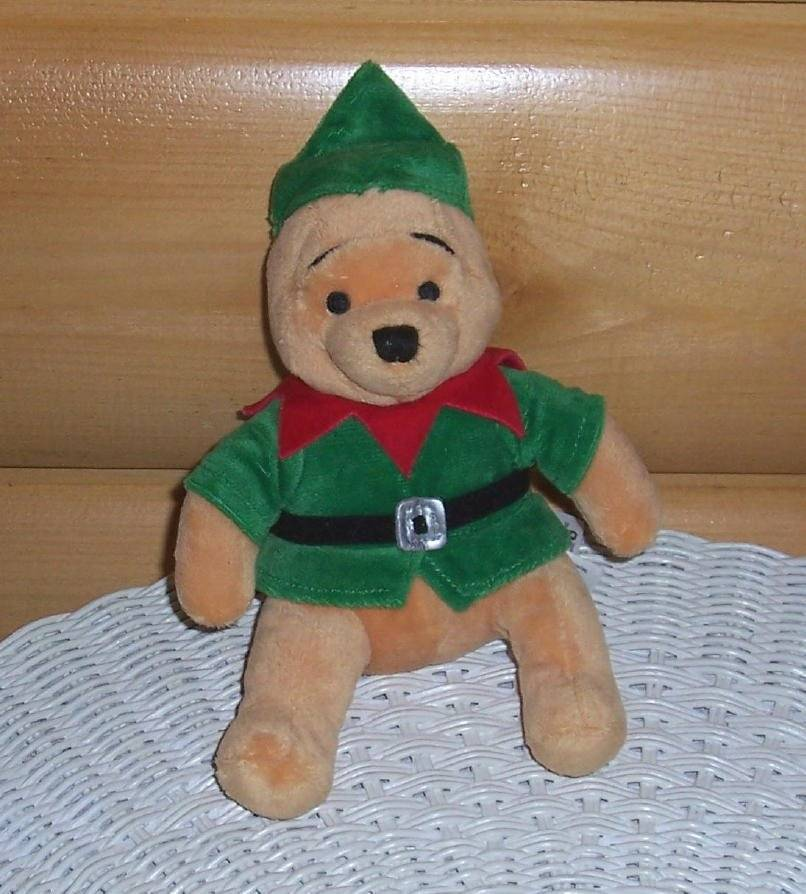 "Primary image for Winnie Pooh Disney Store Plush 8"" Holiday Ready in Green Suit with Red Collar"