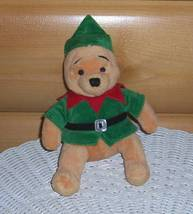 "Winnie Pooh Disney Store Plush 8"" Holiday Ready in Green Suit with Red C... - $5.59"