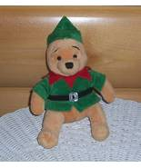 """Winnie Pooh Disney Store Plush 8"""" Holiday Ready in Green Suit with Red C... - $5.59"""