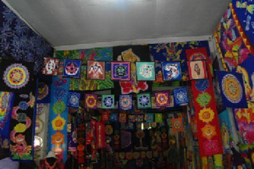 STUNNING PAGAN/SPIRITUAL MIDNIGHT BATIK Drop Banner/wall hanging.183x35cm