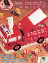 Terrific Tissue Toppers Fire Truck Cat Fish, USA Map Plastic Canvas Pattern - $12.57