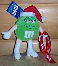 """M & M's  8"""" Poseable Plush Georgeous Miss Green in Red Santa Hat Ho Ho H... - $4.89"""