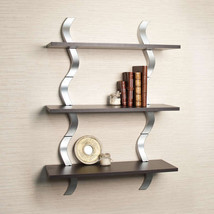Wooden Wall Shelves Decor Shelf Metal Display Storage Mount Contemporary... - $94.05
