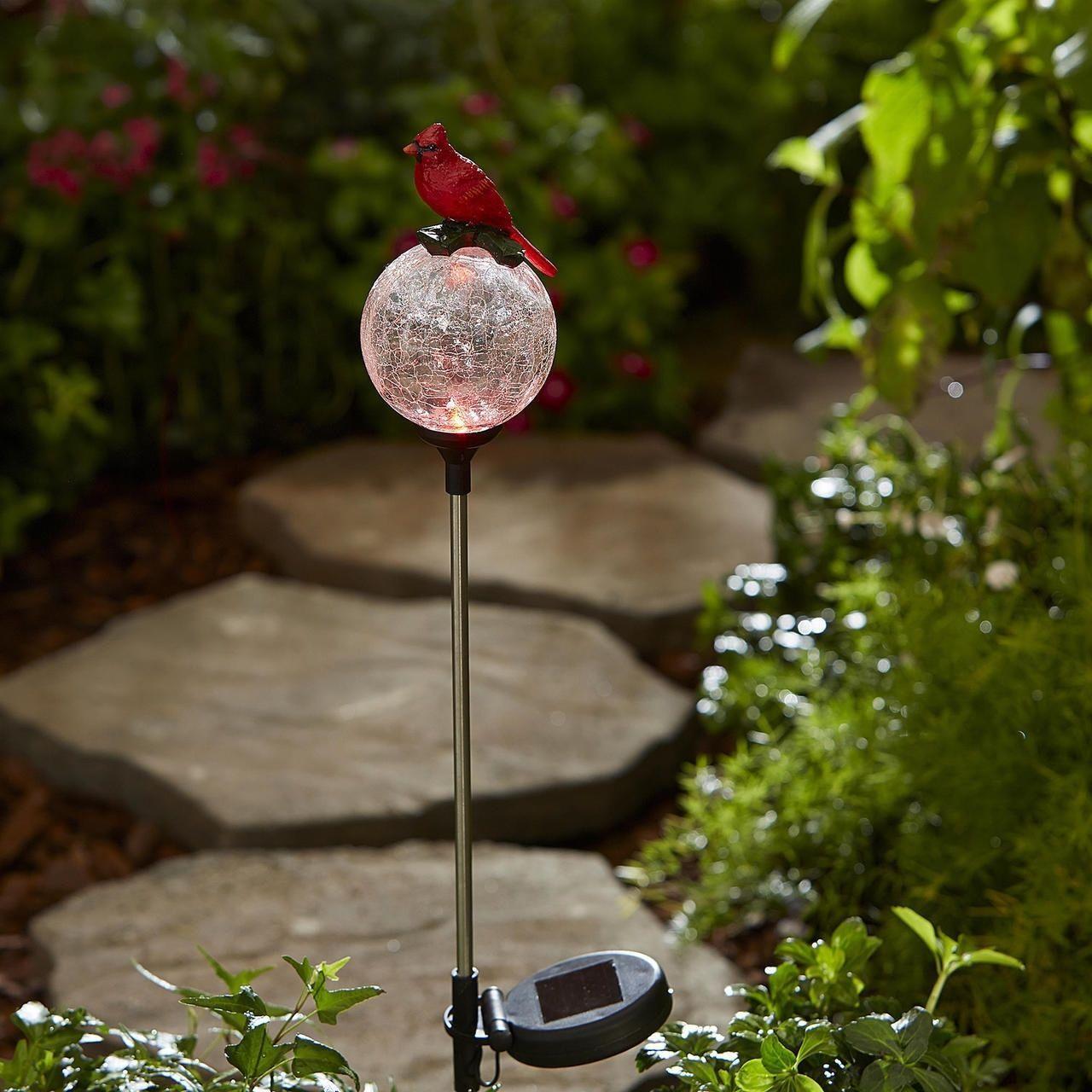 Essential Garden Bird Solar Crackle Glass Stakes - Cardinal