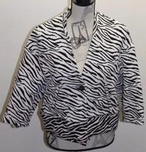 Zara Basic Women Blazer Jacket Zebra Print M Spain Cropped Cotton Blend - $46.39