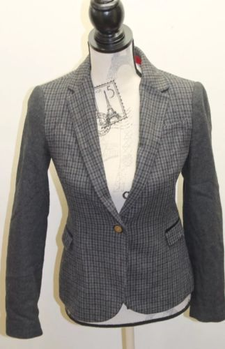 ZARA Women Blazer Houndstooth Solid Shoulder Patch Gray Small Wool Wood Button