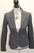 ZARA Women Blazer Houndstooth Solid Shoulder Patch Gray Small Wool Wood ... - $69.48