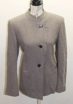 VTG Armani Women Blazer Chinese Collar 12 Made In Italy Brown Gray Diago... - $46.20