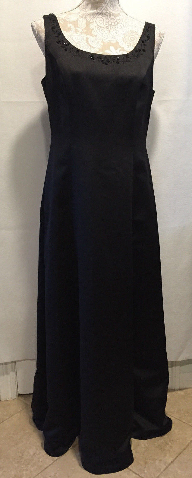 Primary image for David's Bridal Women Holiday Party Formal Beaded Neck Long Black Dress Size 12