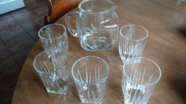 Old Rare VINTAGE  Clear Glass Star Pitcher and ... - $9.49