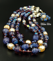 Alice Caviness Necklace, Vintage Art Glass and Faux Pearls - $99.00
