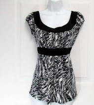 New Sz M AGB Womens Black/White Zebra Print Jersey Empire Slip On Top Bl... - $13.50
