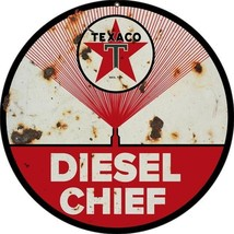 Reproduction Texaco Diesel Chief Sign 14 Round - $25.74