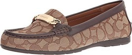 Coach Olive Outline Signature Jacquard Leather Loafers Sz 8  Khaki Chestnut NWB - $143.55
