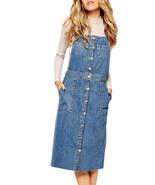 Women Buckle Strap Button Front Frayed Denim Ov... - $27.99