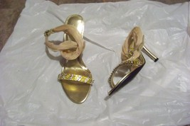 womens elie gold beaded ankle strap heels shoes size 9 - $26.72