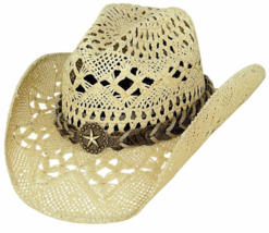 Bullhide Naughty GIrl Toyo Straw Cowgirl Hat Black Natural White Fuschia Pink - $69.00