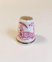 Nankin Spode Thimble Vintage Fine Bone China England Red White Gold Trim - $20.00