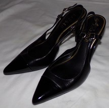 Lauren Ralph Lauren Black Patent Leather Slingback Heels 7B 7B Womens Shoes - $30.77