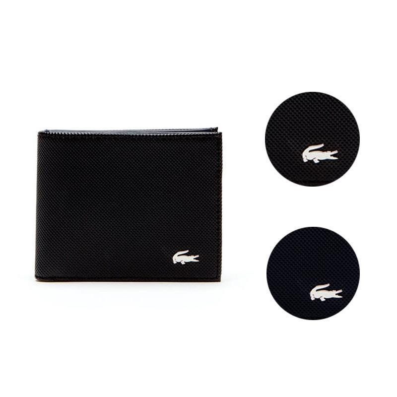 Men's Lacoste Slim Leather Credit Card Holder ID Slot Tricolor Accents NH2099ED