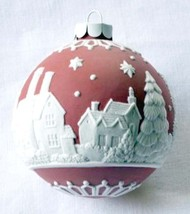 Wedgwood English Countryside Red Ball Ornament White Raised Relief New - $79.90