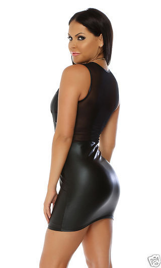 Forplay The Daring Sleeveless Illusion Matte Black Mini Dress