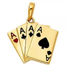 14K Yellow Gold Aces Poker Pendant - $179.99