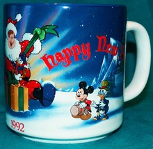 1992 Disney Parks Disneyland Mickey Merry Christmas Happy New Year Coffe... - $29.99