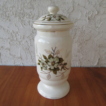 Vintage Ceramic Apothecary Jar Pedestal with Dogwood Transferware Gilt T... - $17.80