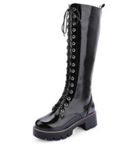 PB105 Extra size sexy lace up boots with thick shole,US size 3-10, black - $62.80