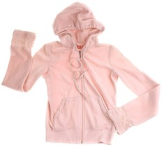 Juicy Couture Pink Velour Hooded Zipper Jacket Lace P or Girls 12 14 - $15.83