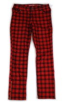 LANDS END Red Holiday Christmas Cotton Plaid Girls Pants 12 14 - $12.86