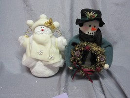 CHRISTMAS SNOWMEN  FIGURINES - GOLD & WHITE, GREEN WITH WREATH -SET OF 2... - $29.99